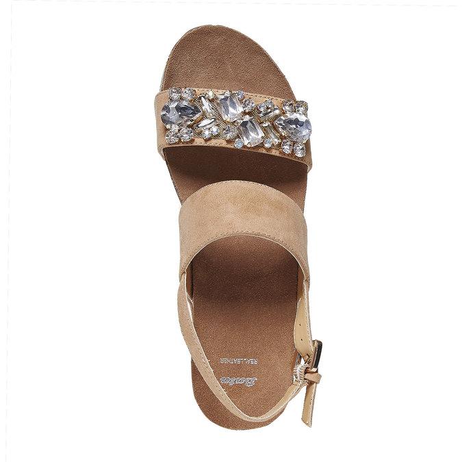 Sandale à plateforme avec petites pierres bata, Jaune, 669-8209 - 19