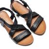 Sandale en cuir à arrière élastique bata, Noir, 564-6443 - 26