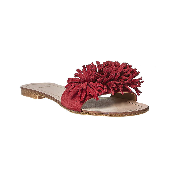 Mule à franges en cuir rouge bata, Rouge, 573-5354 - 13
