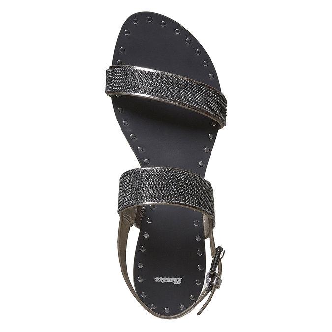 Sandale femme avec applique décorative bata, Noir, 561-6501 - 19