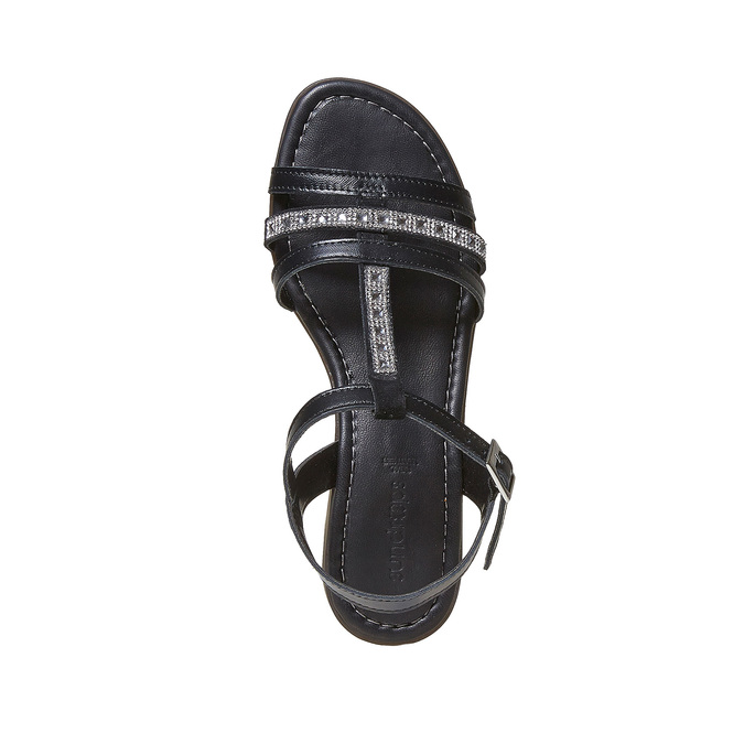Sandale en cuir femme avec petites pierres sundrops, Noir, 564-6402 - 19