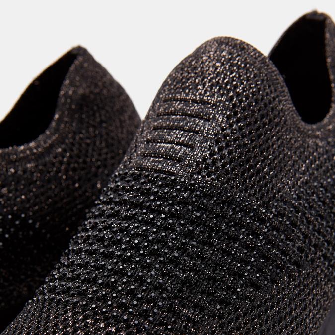 Chaussures slip-on à empeigne tricotée avec paillettes bata, Noir, 539-6143 - 17