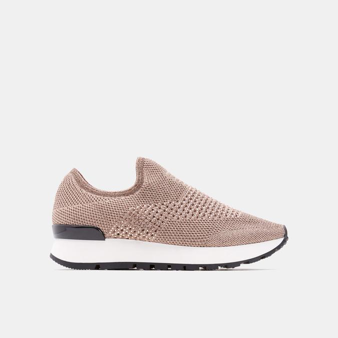 Chaussures slip-on à empeigne tricotée avec paillettes bata, Rose, 539-5143 - 13