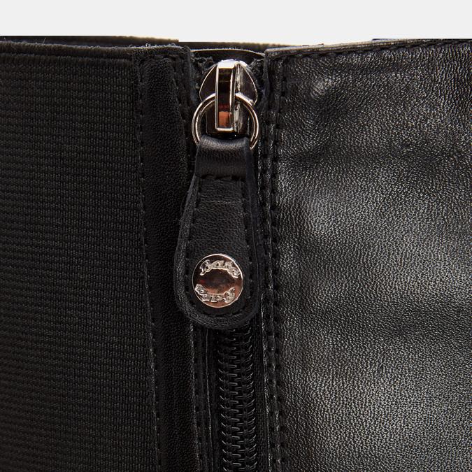 Bottes en cuir sur talon large flexible, Noir, 794-6689 - 26