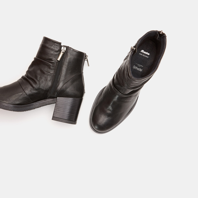 Bottines en cuir de type tronchetto sur talon large bata, Noir, 794-6753 - 17