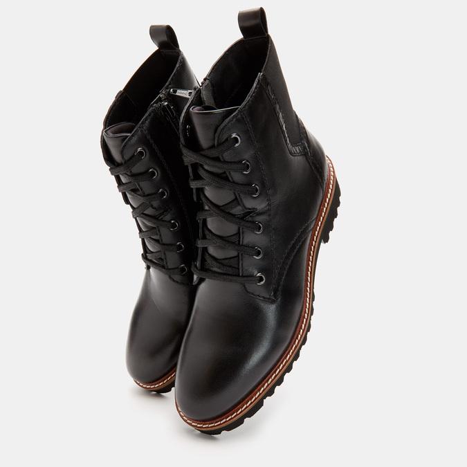 Rangers en cuir, effet vernis bata, Noir, 594-6849 - 19