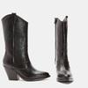 Bottes de style Texas en cuir véritable bata, Noir, 794-6585 - 16