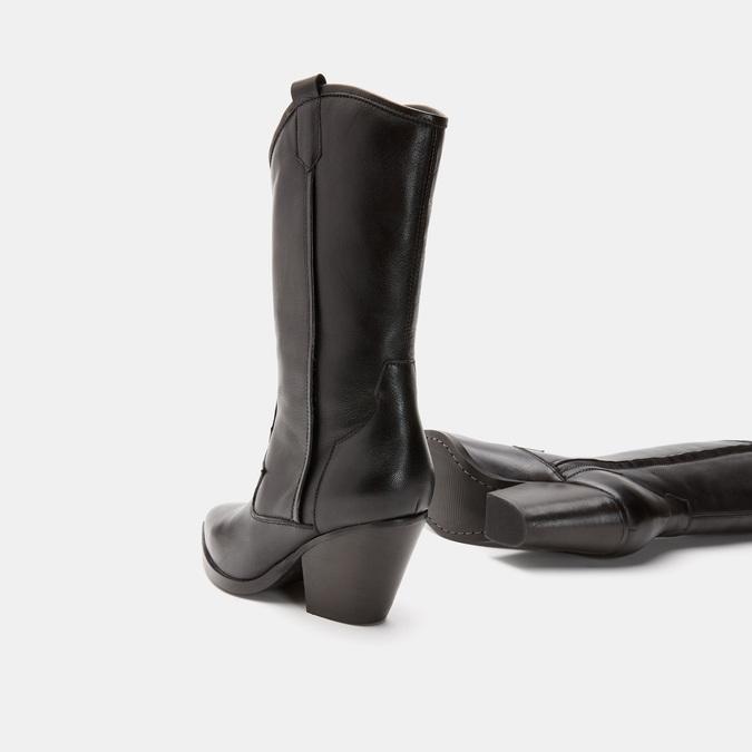 Bottes de style Texas en cuir véritable bata, Noir, 794-6585 - 17