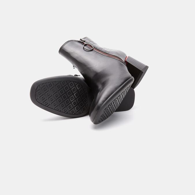 Bottines en cuir de type tronchetto avec motif de crocodile bata, Noir, 794-6790 - 19
