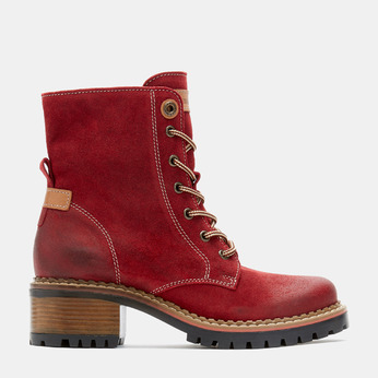 bottines en suède à lacets et semelles track weinbrenner, Rouge, 693-5459 - 13