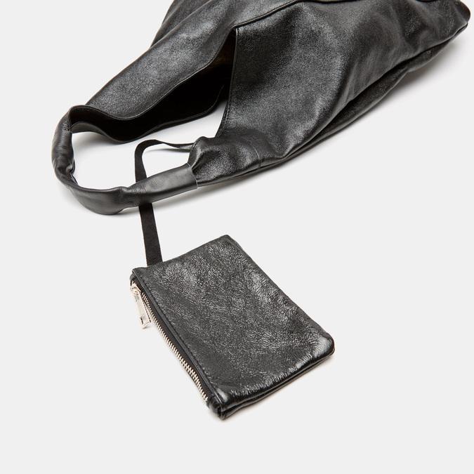 Sac  hobo en cuir bata, Noir, 964-6355 - 16