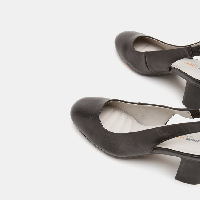 Sandales à talon ouvert et bout arrondi flexible, Noir, 624-6241 - 17