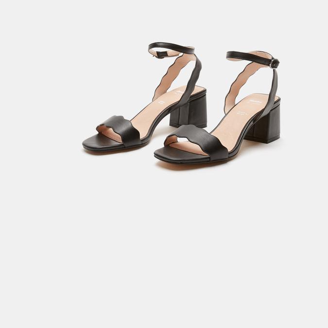 Sandales à talon large bata, Noir, 761-6872 - 16