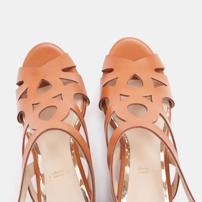 Sandales à talon large bata, Brun, 761-3850 - 19