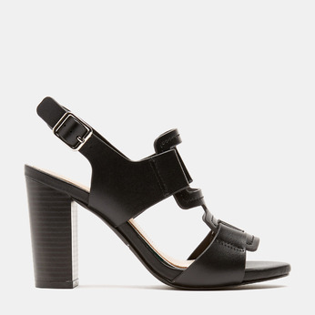 Sandales à talon large bata, Noir, 761-6849 - 13