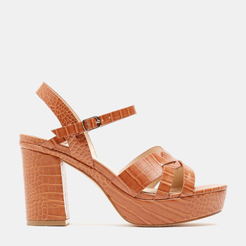 Sandales à talon large et à plateforme bata, Brun, 761-3890 - 13