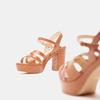 Sandales à talon large et à plateforme bata, Brun, 761-3890 - 19