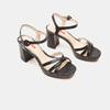 Sandales à demi-talon et à bride autour de la cheville bata-rl, Noir, 761-6852 - 16