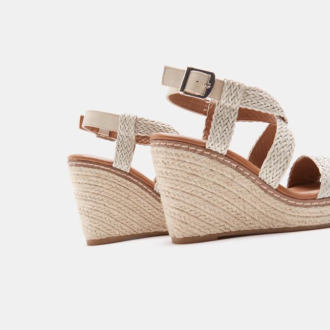 Sandales compensées bata, Blanc, 761-1961 - 17