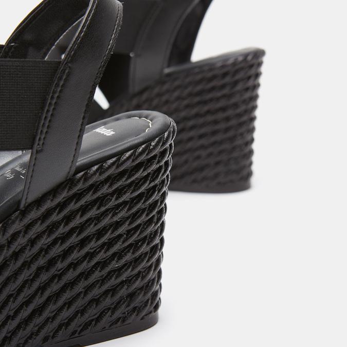 Sandales compensées bata, Noir, 761-6949 - 26