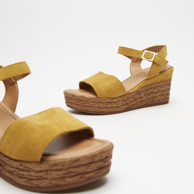 Sandales compensées bata, Jaune, 763-8938 - 19