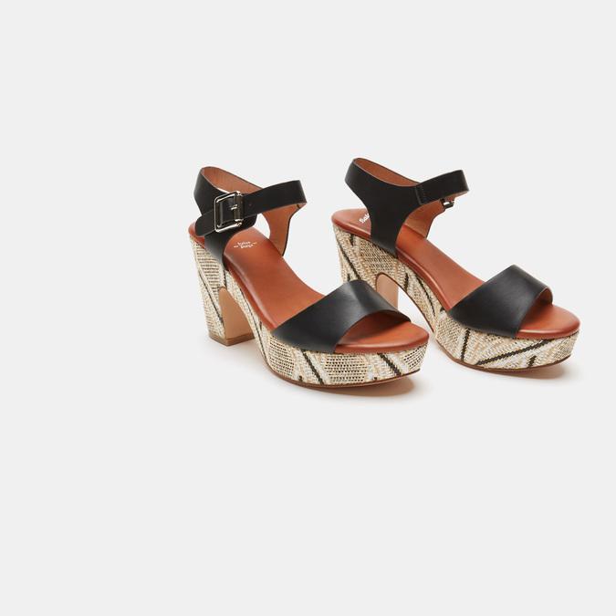 Sandales à talon large et à plateforme bata, Noir, 761-6866 - 16