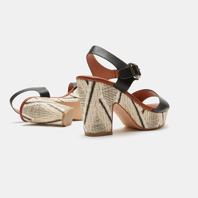 Sandales à talon large et à plateforme bata, Noir, 761-6866 - 15