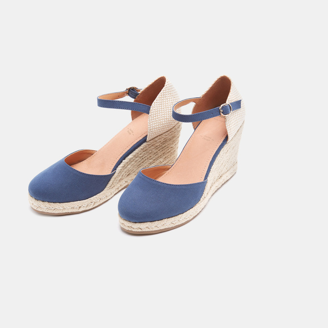 Sandales compensées bata, Bleu, 769-9921 - 26