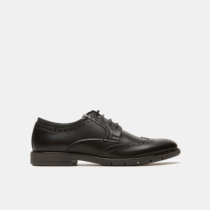 chaussures basses brogue en cuir flexible, Noir, 824-6147 - 13