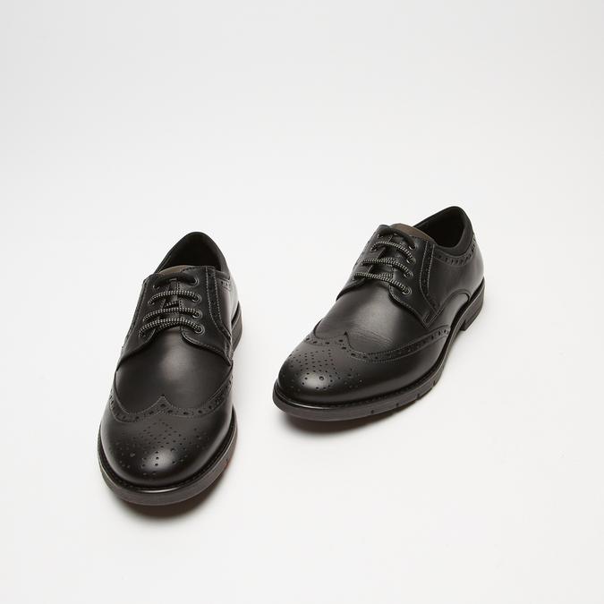 chaussures basses brogue en cuir flexible, Noir, 824-6147 - 26
