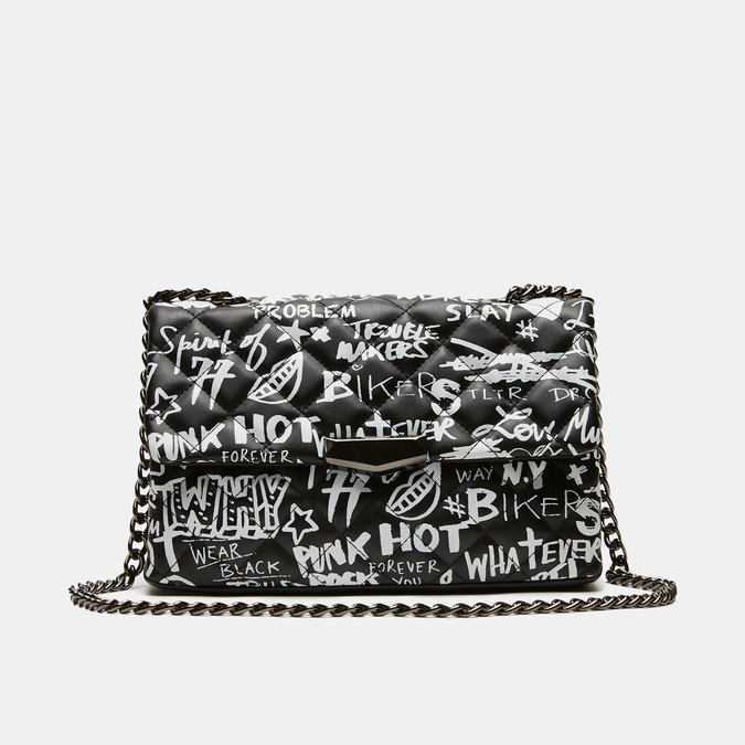 petit sac à main imprimé à effet matelassé bata, Noir, 961-6134 - 13