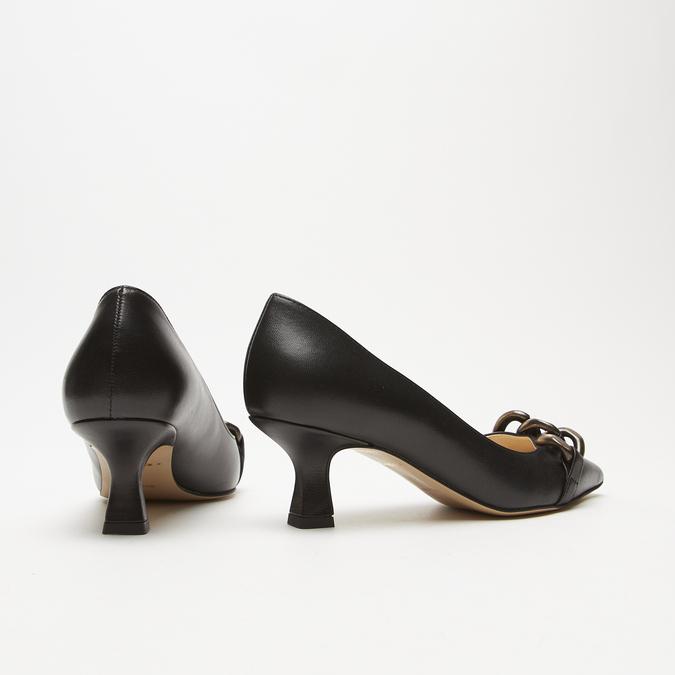 escarpins pointus en cuir bata, Noir, 624-6152 - 17