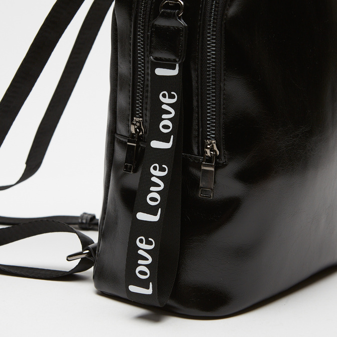 sac à dos à effet brillant bata, Noir, 961-6155 - 16