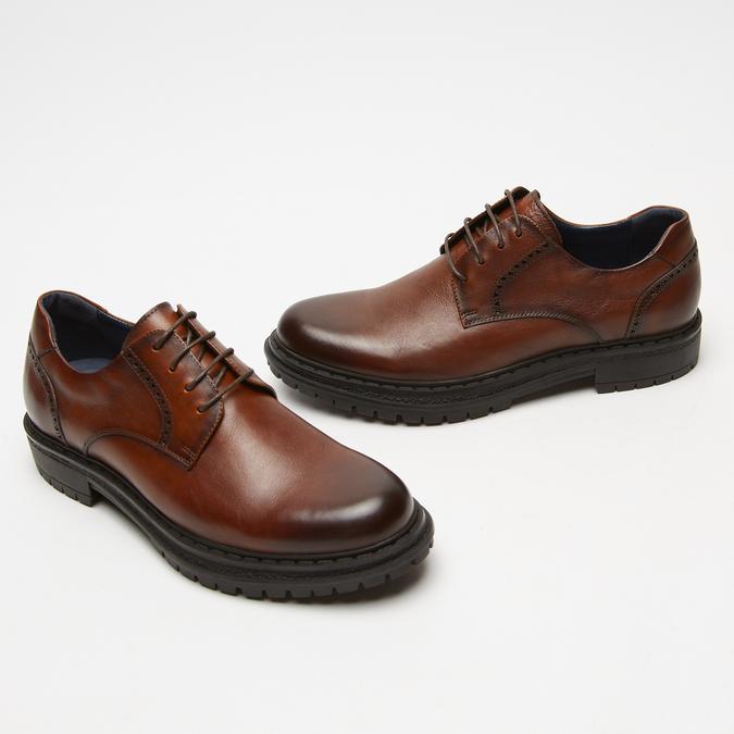 chaussures basses brogue en cuir bata, Brun, 824-3210 - 26