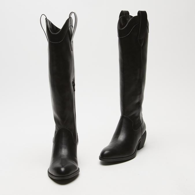 bottes de cow-boy en-dessous du genou à talons cubains bata, Noir, 791-6593 - 26