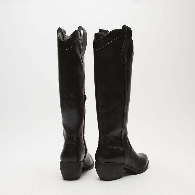 bottes de cow-boy en-dessous du genou à talons cubains bata, Noir, 791-6593 - 17